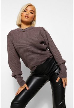 Slate grey Petite Crew Neck Knitted Jumper