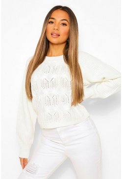 Ecru white Petite Pointelle Boxy Knitted Jumper