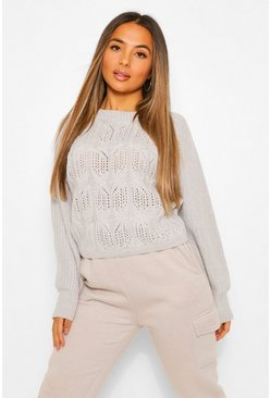 Silver Petite Pointelle Boxy Knitted Jumper