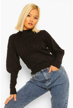 Black Petite Cable Knit High Neck Puff Sleeve Jumper