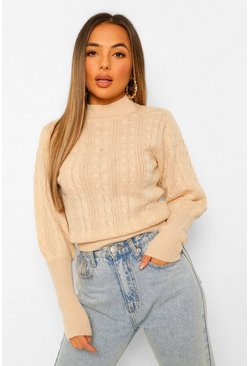 Petite Cable Knit High Neck Puff Sleeve Jumper, Cream blanc