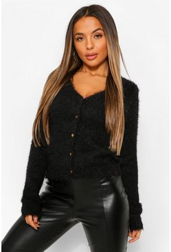 Black Petite Fluffy Knit Button Cardigan