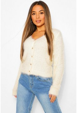 Petite Fluffy Knit Button Cardigan, Cream blanc