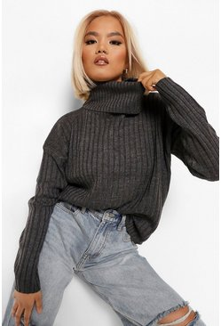 Charcoal Petite Roll Neck Knitted Jumper