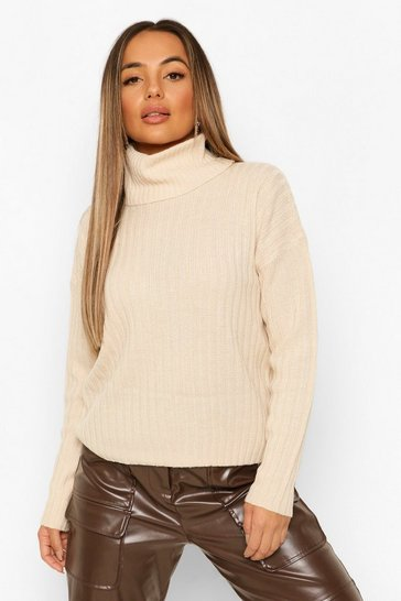 Stone beige Petite Roll Neck Knitted Jumper