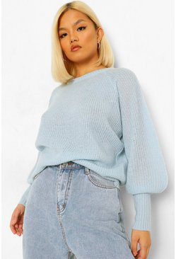 Blue Petite Balloon Sleeve Knitted Jumper