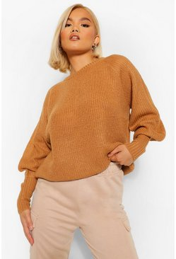 Camel Petite Balloon Sleeve Knitted Jumper