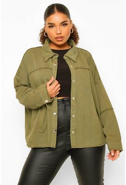 Khaki Plus Outer Seam Detail Denim Jacket