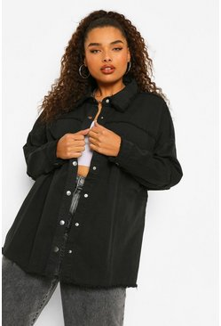 Black Plus Outer Seam Detail Denim Jacket