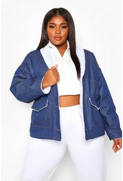 Mid blue blue Plus Borg Lined Denim Jacket