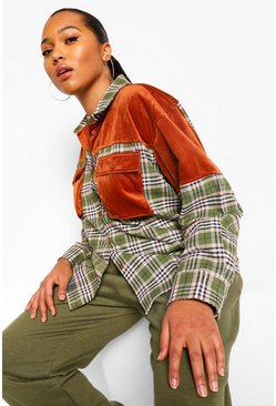 Khaki Plus Cord Panel Checked Boyfriend Overshirt