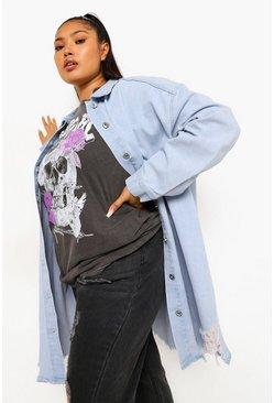Light blue blue Plus Oversized Busted Denim Shirt