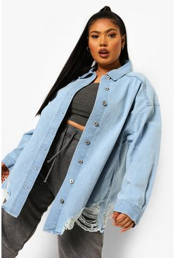 Mid blue blue Plus Oversized Busted Denim Shirt