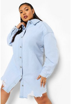 Light blue blue Plus Distressed Denim Shirt Dress