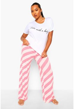 Pink Plus Stripe Cutie With A Booty PJ Set
