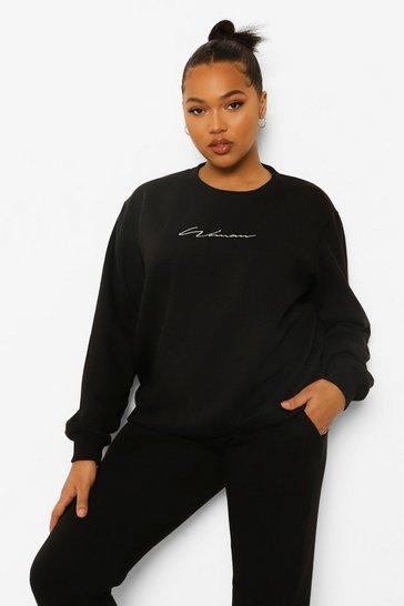 Black Plus Woman Crew Sweatshirt