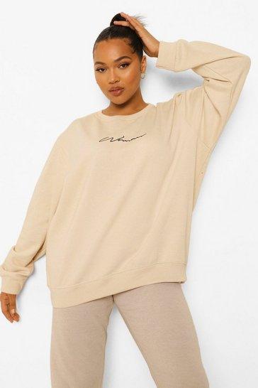 Stone beige Beige Plus Woman Crew Sweatshirt