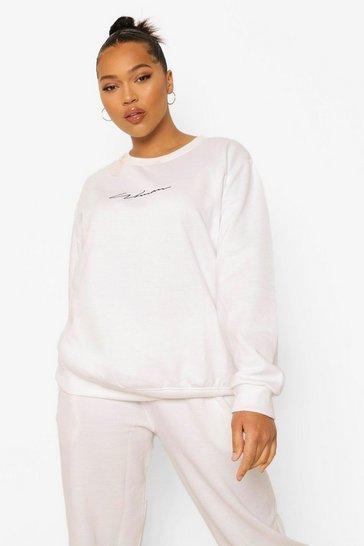 White Plus Woman Crew Sweatshirt