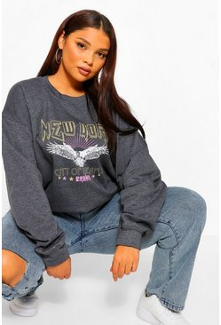 Charcoal grey Plus New York Band Sweater