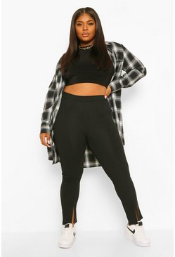 Black Plus Front Split Hem Trousers