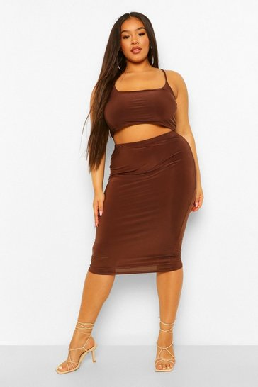 Chocolate brown Plus Double Layer Crop And Midi Skirt