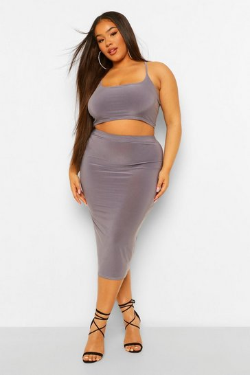 Slate blue blue Plus Double Layer Crop And Midi Skirt