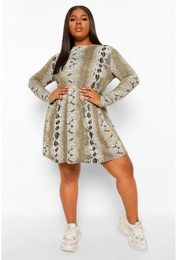 Khaki Plus Snake Print Long Sleeve Smock Dress