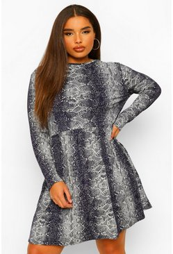 Navy Plus Snake Print Long Sleeve Smock Dress