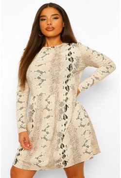 Stone beige Plus Snake Print Long Sleeve Smock Dress