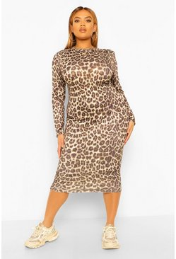 Plus Shoulder Pad Leopard Midi Dress, Stone beige