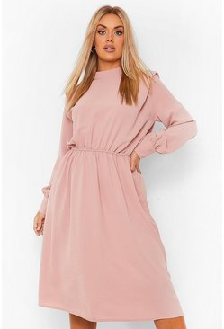 Plus Shoulder Pad High Neck Midi Dress, Blush rosa