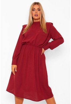 Wine red Plus Shoulder Pad High Neck Midi Dress