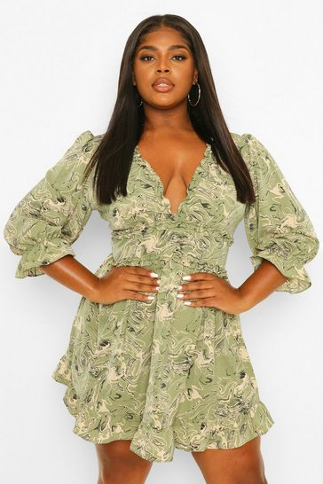 Khaki Plus Marble Print Ruffle Wrap Dress
