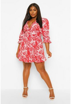 Berry Plus Marble Print Ruffle Wrap Dress