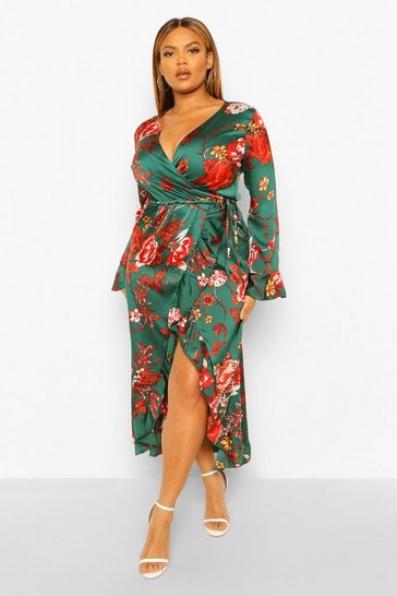 Green Plus Floral Ruffle Wrap Dress