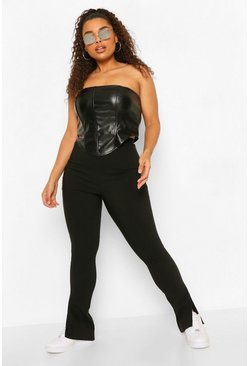 Black Plus Super Stretch Split Hem Trouser