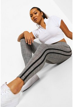 Black Plus Stripe Side Check Legging