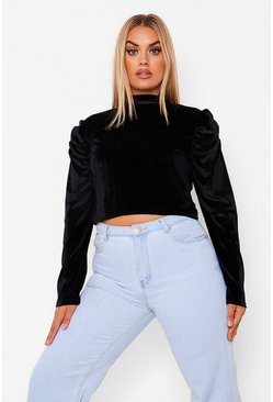 Black Plus Velvet Ruched Puff Sleeve High Neck Top