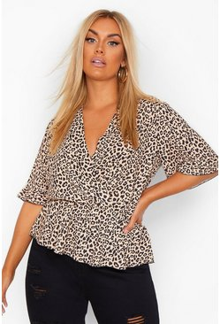Tan brown Plus Wrap Ruffle Sleeve Leopard Blouse