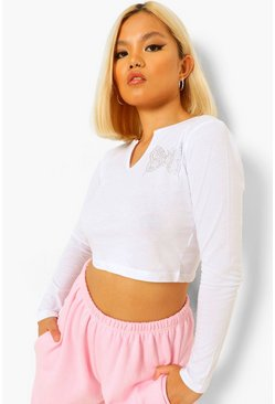 White Petite Butterfly Embroidered Notch Neck Crop Top