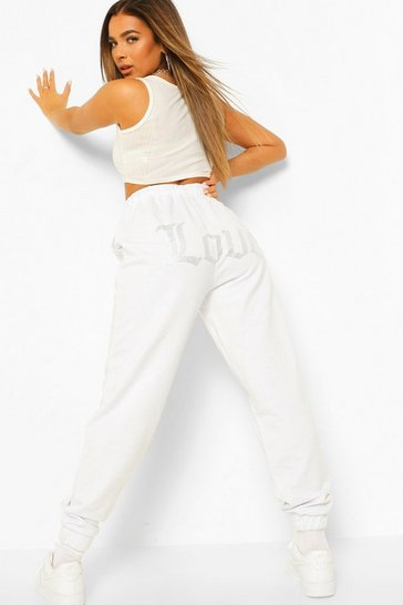 White Petite Embroidered Love Joggers
