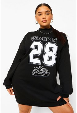 Black Plus Basketball Puff Sleeve Graphic Sweat Dress