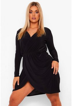 Black Plus Slinky Wrap Front Dress