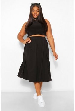 Black Plus Cotton Basic Midi Skater Skirt