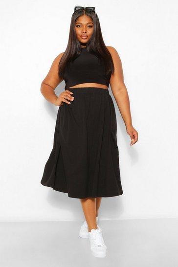 Black Plus Cotton Basic Midi Skater Skirt