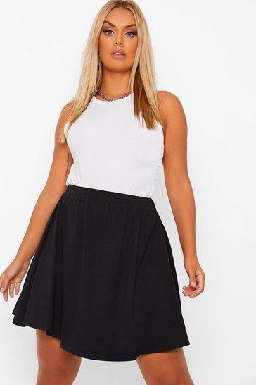 Black Plus Cotton Basic Mini Skater Skirt