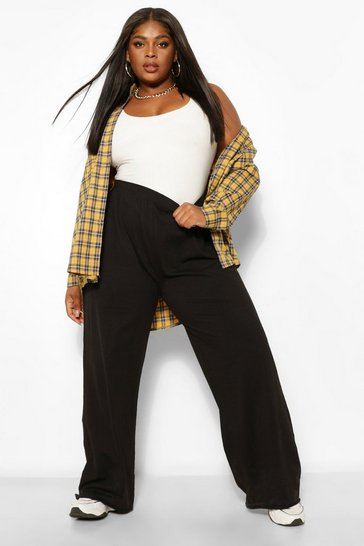Black Plus Cotton Basic Wide Leg Trousers