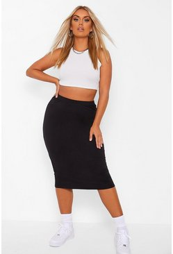 Black Plus Cotton Basic Midi Tube Skirt