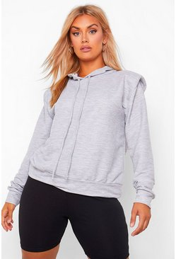 Plus Shoulderpad Hoody Sweat, Grey marl gris