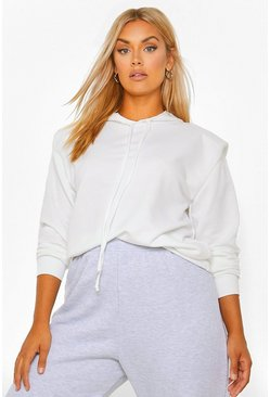 White Plus Shoulder Pad Hoody Sweat